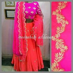 and crop top in coral and hot pink combo wear Asian Wedding Dress, Wedding Dresses, Traditional Outfits, Hot Pink, Kimono Top, Coral, Crop Tops, Bridal, Facebook