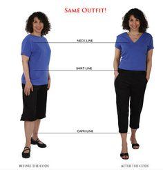 Decote em V + blusa acinturada + calça para alongar as pernas = kg a menos e cm a mais!