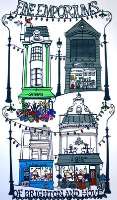'Fine Emporiums Of Brighton And Hove' print from a paper cut.http://decdesignecasa.blogspot.it