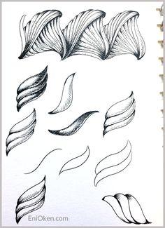 Learn to create amazing Zentangle® • enioken.com  note shading Prasima  tangle pattern  2 of 3