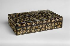 Stationery box with decoration of peony scrolls Joseon dynasty 15th–16th century Korea Lacquer inlaid with mother-of-pearl
