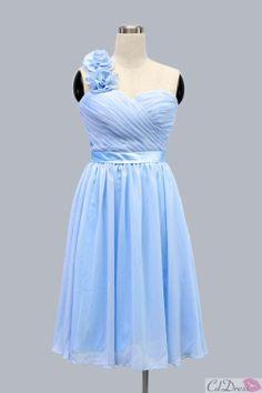 Light Blue A-line One-shoulder Knee-length Chiffon Short Bridesmaid Dress