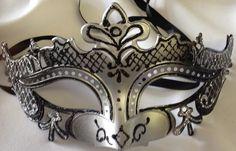 Victorian Style Masquerade Mask Black & Silver #reflections_vintage_toronto #masks #masquerade #masqueradeball