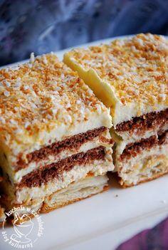 Tydzień włoski w Lidlu, ciasto bez pieczenia, z kremem budyniowym, z likierem kawowym, z herbatnikami, ciastka kruche z morelową glazurą