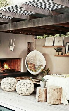 An outdoor fireplace design on your deck, patio or backyard living room instantly makes a perfect place for entertaining, creating a dramatic focal point. Outdoor Living Space, Outdoor Decor, Decor, Outdoor Space, Home, Living Spaces, Outdoor Spaces, Outdoor Living, Home Decor