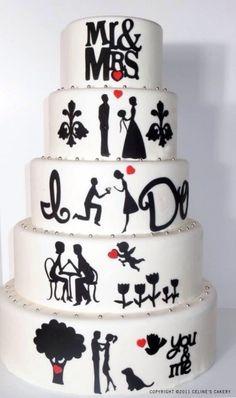 » En negro y blanco, pasteles de boda