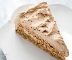 German-style torte made with ground walnuts, whipped eggs, and bread crumbs, and a mocha whipped cream frosting.