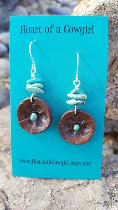 Turquoise and Leather Flower Blossom Earrings Hand Tooled