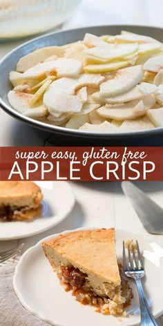 Gluten free apple crisp is nothing more than sliced apples are tossed with cinnamon-sugar, topped with a simple one-bowl cinnamon-sweet mixture, and baked. No crust, no fuss!