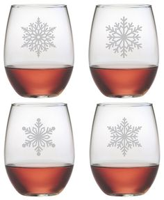 Paper Snowflakes ~ Stemless Wine Glasses ~ Set of 4 Images of Paper Snowflakes adorn these beautifully etched stemless wine glasses. This is a great set of Chri