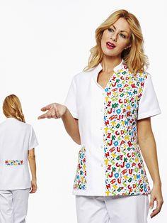 € 37,50 - Casaca GRENOBLE White ABC Dental Uniforms, Healthcare Uniforms, Staff Uniforms, Uniform Clothes, Scrubs Uniform, Maid Uniform, Dental Scrubs, Batik Dress, African Fashion