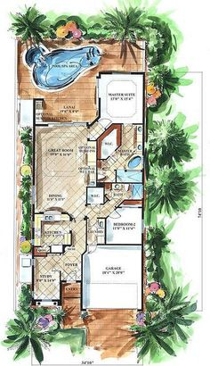 Cute, Small Mediterranean House Plan Designed For A Narrow Lot. Great  Retirement Or Empty Nester Home Under 2000 Sq. Of Living Space.