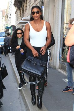 Serena Williams was spotted out in Milan looking chic wearing the Medusa Visor Sunglasses and carrying a black Versace Palazzo Empire bag. #VersaceCelebrities