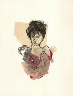 """Original hand pulled Chine collé Dry Point Etching Portrait  9""""x7"""" SFA"""