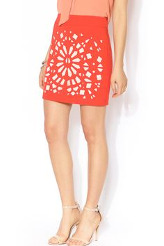 Tangerine laser cut mini skirt perfect for those warm summer nights! Pair with a silk white sleeveless blouse and metallic sandals for a look that's hot hot hot!   Laser Cut Mini Skirt by Esley Collection. Clothing - Skirts - Mini Clothing - Skirts Chicago, Illinois