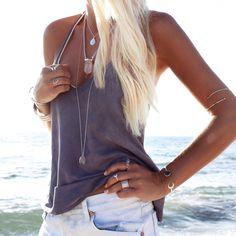 Summer look + boho + gypsy + beach + rose quarts + silver + onyx