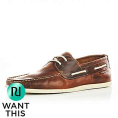 brown slim boat shoes - boat shoes - shoes / boots - men - River Island