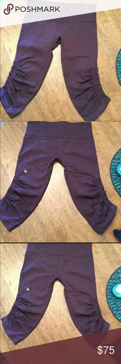 Lululemon Size 8 In the Flow Crop In the flow crop size 8 Womens 3/4 length crops in great condition lightly loved no flaws color is maroon lululemon athletica Pants Leggings