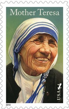 This handout image provided by the U. Postal Service shows a four postage stamp honouring Mother Teresa. A stamp in her honour will go on sale on her birthday, August Saint Teresa Of Calcutta, Commemorative Stamps, Religion Catolica, Rich People, Blessed Mother, Stamp Collecting, Postage Stamps, Famous People, Famous Women