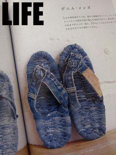 Pin by hatopoppo on やってみたい Jeans Denim, Old Jeans, Fabric Yarn, Denim Fabric, Japanese Socks, Flip Flop Craft, Remake Clothes, Denim Crafts, Minimalist Shoes