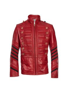 handmade men military red t leather jacket by customdesignmaster, $249.99