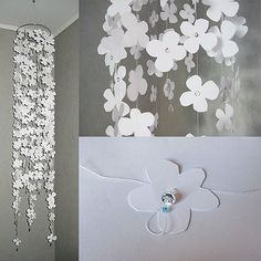 Hanging flower mobile with paper cutouts and crystal beads.