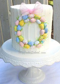 Simple Easter Wreath Cake~ Blog Tutorial   MyCakeSchool Blog