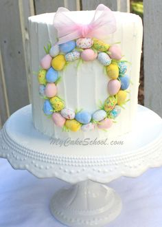 Simple Easter Wreath Cake~ Blog Tutorial | MyCakeSchool Blog