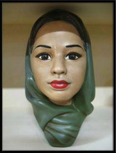 Marwal Chalkware Lady head Bust vintage 1960s Middle East Veil