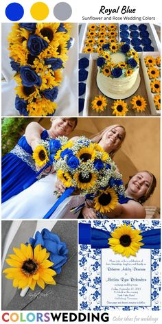Perfect 8 Sunflower and Rose Wedding Color Combos Blue Roses Wedding, Blue Sunflower Wedding, Sunflower Wedding Decorations, Wedding Cake Roses, Royal Blue Bridesmaid Dresses, Pink Wedding Dresses, Wedding Bridesmaids, Wedding Bouquets, Wedding Color Schemes