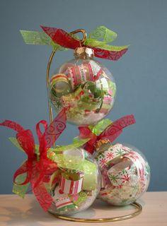 3 clear Christmas ornaments