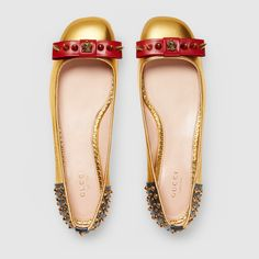 Studded leather ballet flat