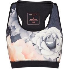 Ted Baker Monorose sports bra top ($57) ❤ liked on Polyvore featuring activewear, sports bras, black, sport & fitness, ted baker, sports jerseys, sleeveless jersey, sport jerseys and sports bra