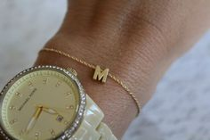 Tiny Gold Initial Bracelet...Small Initial by brinandbell on Etsy, $12.00