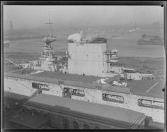 """Carrier ~ """"USS Lexington in drydock,"""" 18 January 1928.~ BFD"""
