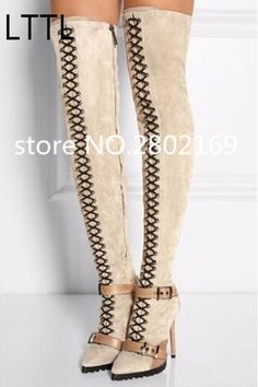 109.96$  Watch here - http://ali8f0.worldwells.pw/go.php?t=32787801641 - Women Over The Knee Beige Black Suede Patchwork Leather Buckle Lace-Up Drop Shipping Hot Selling Winter Long Boots Spring 109.96$