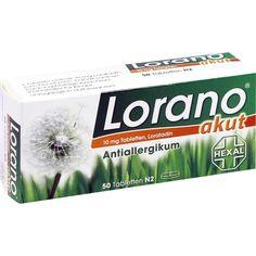 LORANO akut Tabletten bei Allergie und Heuschnupfen:   Packungsinhalt: 50 St Tabletten PZN: 07222904 Hersteller: Hexal AG Preis: 9,82 EUR…