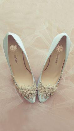Head over Heels - Something Blue Wedding Shoes with Crystal Vine. Designer Wedding Shoes, Bridal Wedding Shoes, Blue Wedding Shoes, Wedding Dress, Something Blue Wedding, Shoes Photo, Sock Shoes, Chanel Ballet Flats, Bridal Accessories