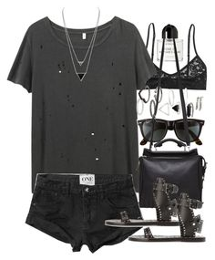 """Outfit with a grey tee and studded sandals"" by ferned on Polyvore featuring Monki, R13, Abercrombie & Fitch, Byredo, House of Harlow 1960, Topshop, Ray-Ban, 3.1 Phillip Lim and Isabel Marant"