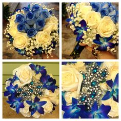 Blue teal bouquets. Blue roses, blue bomb orchids, & white roses. Teal blue brooch wedding bouquet.