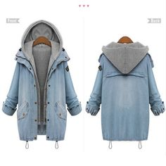 f11d0bf3334 Plus Size New winter Women s Fashion Cotton Long Sleeves Outwear Two Piece  Hooded Denim Coat