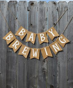 Look at this Burlap 'Baby Brewing' Banner on #zulily today!