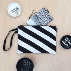 Excited to share this item from my #etsy shop: Black and White Stripes Wristlet, Linen Handbag, Diagonal Stripes Clutch, Zipper Pouch, Eco Friendly
