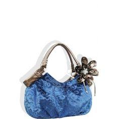 Removable Flower Velvet Feel Handbag Blue