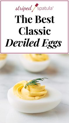 Classic Creamy Deviled Eggs Nothing beats a classic! This simple Deviled Eggs recipe has a smooth, creamy filling, brightened with tangy Dijon mustard. Topped with your favorite garnishes, they're easy to make (and make ahead) for entertaining. Perfect Deviled Eggs, Best Deviled Eggs, Classic Deviled Eggs, Southern Deviled Eggs, Easter Recipes, Appetizer Recipes, Recipes Dinner, Make Ahead Appetizers, Vegetarian Recipes