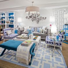Preppy blue prints with lacquered white furniture in the Jonathan Adler store.