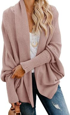 Mafulus Womens Cardigan Sweaters Oversized Open Front Batwing Chunky Knit Outwear at Amazon Women's Clothing store Batwing Cardigan, Chunky Cardigan, Wrap Cardigan, Batwing Sleeve, Sweater Cardigan, Slouchy Sweater, Open Cardigan, Oversized Cardigan Outfit, Cocoon Sweater
