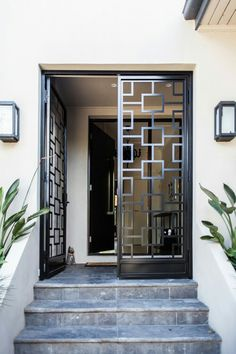 Metal frame door in front of foyer