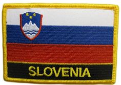 "[Single Count] Custom and Unique (1 1/2"" by 3 1/2"" Inches) Rectangle Slovenian Travel Souvenir Slovenia Text Flag Iron On Embroidered Applique Patch {White, Blue, Red & Gold Colors} mySimple Products"