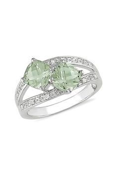 Sterling Silver Double Cushion Cut Green Amethyst Pave Diamond  - umm, this is stunning. absolutely stunning. I love the two main stones which are slightly off-center. reminds me of two becoming one!